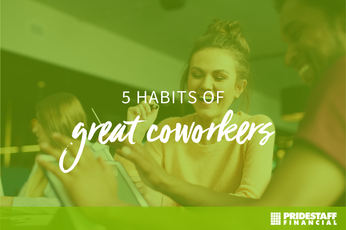 This is an image of a young white professional wearing and orange shirt and talking to her african american coworkers. She is pointing to text on a piece of paper and they are discussing it in the office. There is a light green overlay on the image with white text that says 5 Habits of Great Workers.